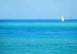sailboat on turquoise sea poster