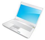 ordinateur portable sur fond blanc poster