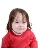 child in red with grin poster