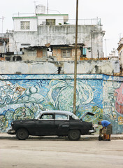 vintage car and mural, havana