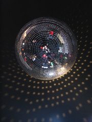 mirror sphere in a night club