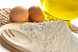 flour, eggs, oil-food ingredients