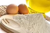 Fototapety flour, eggs, oil-food ingredients