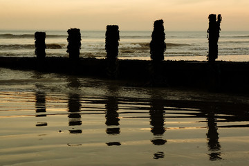 groynes reflected in the sand