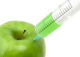 green apple with syringe inserted poster