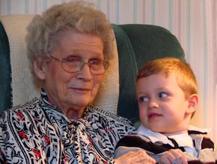 smiling at great grandma