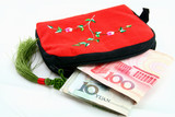 chinese tradition wallet with money on the white poster