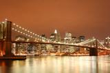 brooklyn bridge and manhattan skyline at night - 2731222