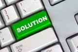 keyboard with green button of solution poster