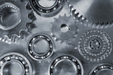 gears and bearings against steeel backdrop poster