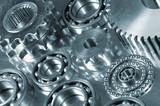mechanical parts display in duplex metallic toning poster