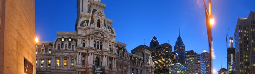 city hall and high towers, philadelphia, panorama