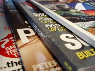 magazines, fanned