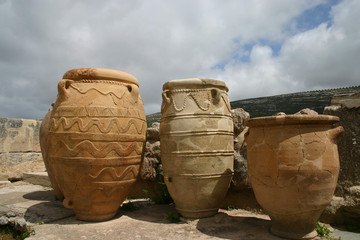 pithoi - big clay vases in knossos, crete