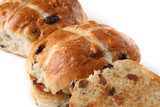 traditional hot cross buns whole and sliced poster