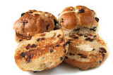 traditional hot cross buns whole and buttered sliced poster