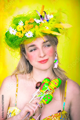 spring girl with easter eggs