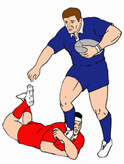 rugby 2 player tackle line drawing colour