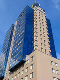 blue apartment building poster