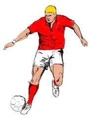 soccer player red dribbling ball hand sketched