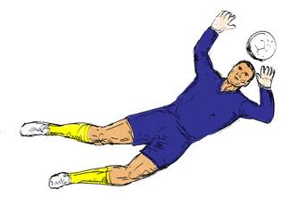 soccer goal keeper defending goal sketched
