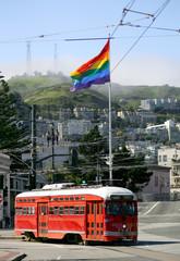red tram car