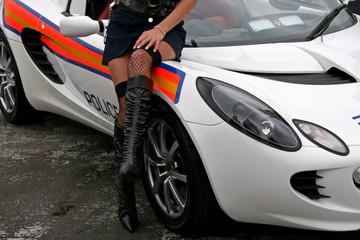 white police sportscar