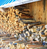 firewood stacked poster