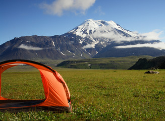 volcano icha and tent. kamchatka.