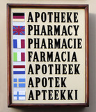 sign with text pharmacy in 7 languages poster