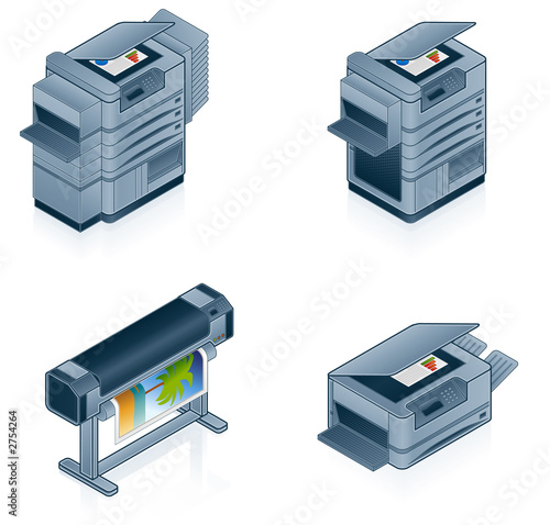 computer hardware icons set - design elements 55p