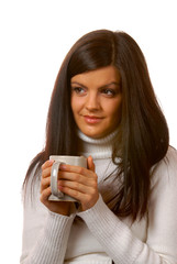 brunette with a teacup