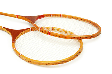 two tennis rackets isolated on the white