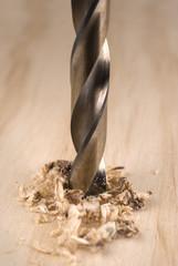 drilling wood.
