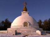 peace pagoda on a brigh winter day poster