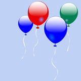 four shiny balloons rise into a solid blue sky. poster