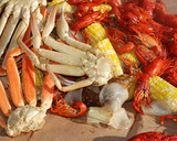 steaming crab legs and veggies poster