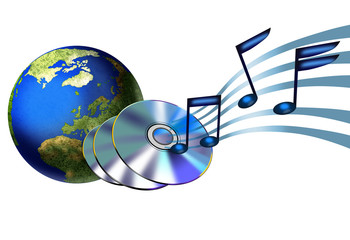 musical note coming out from cd and globe
