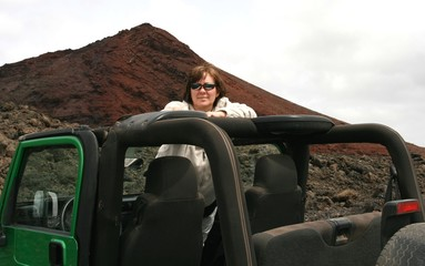 woman in open jeep