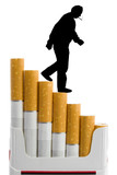 cigarettes like a staircase and silhouette of smoker poster