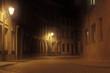 deserted foggy street