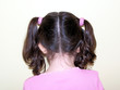 child's hair in pig tails / girl