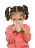 cute little girl drinking milk poster