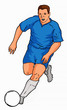 soccer player running with ball blue