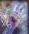 Leinwanddruck Bild chakra hands - violet