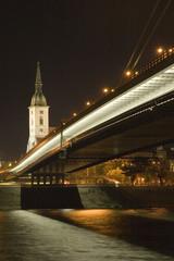 bridge over danube river in bratislava, slovakia