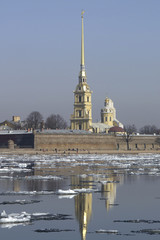 st-petersburg, floating of ice