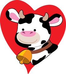 black and white cow on a heart