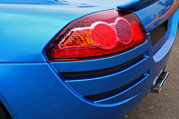 blue car brakelight