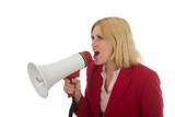 business woman using megaphone 2 left poster